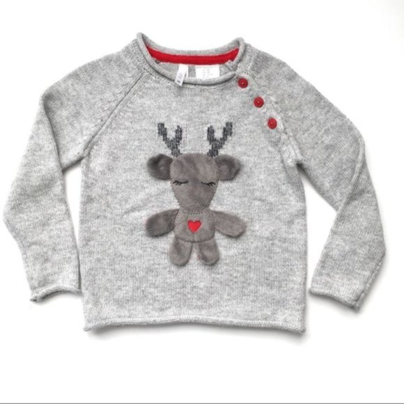 Lil' Pixies Gray Reindeer Sweater 24 months